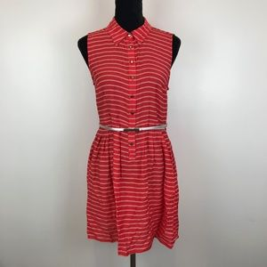 Covington Red Striped Casual Belted Shirt Dress *